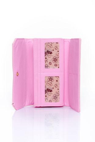 Różowy portfel z motywem skóry aligatora                                  zdj.                                  4
