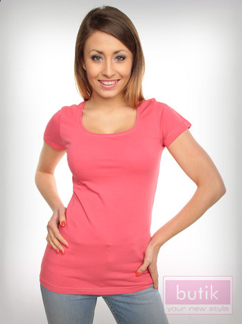 Różowy prosty t-shirt sportowy
