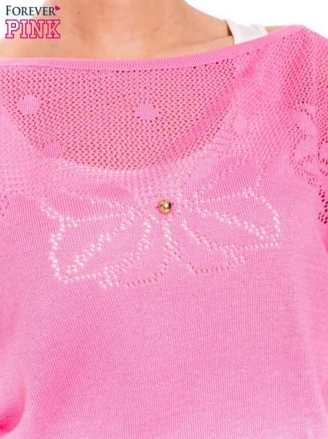 Różowy sweter z ażurową górą i krótkim rękawkiem                                  zdj.                                  4
