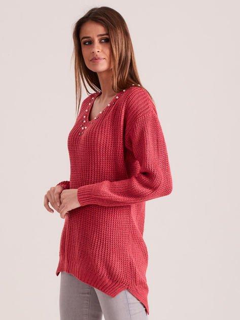 Różowy sweter z perełkami                              zdj.                              3