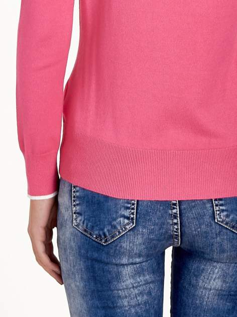 Różowy sweterek z kokardką przy dekolcie                                  zdj.                                  7