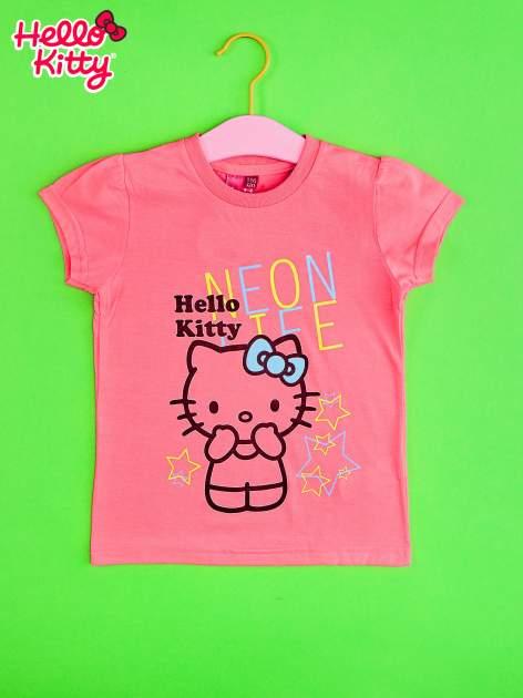 Różowy t-shirt dla dziewczynki HELLO KITTY z gwiadkami                                  zdj.                                  1