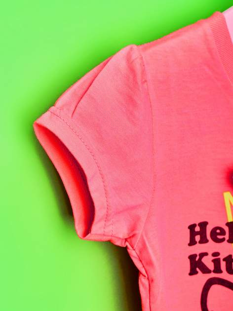 Różowy t-shirt dla dziewczynki HELLO KITTY z gwiadkami                                  zdj.                                  6