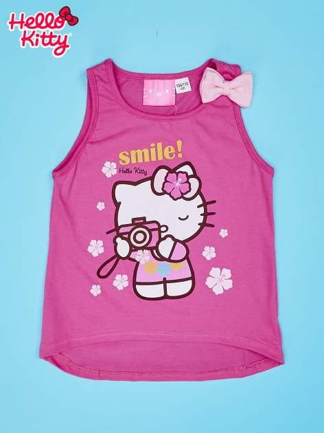 Różowy t-shirt dla dziewczynki bez rękawów HELLO KITTY