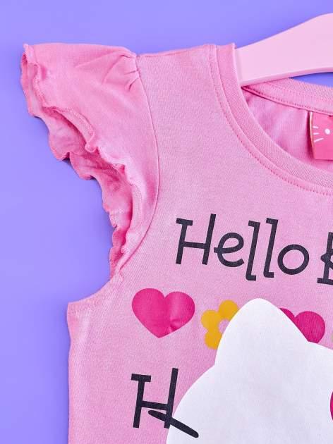 Różowy t-shirt dla dziewczynki z falbankami HELLO KITTY                                  zdj.                                  3