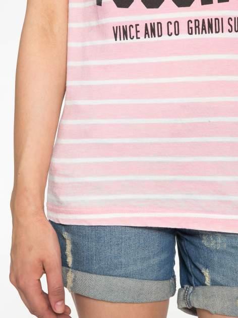 Różowy t-shirt w paski z napisem FIRENZE TOSCANA                                  zdj.                                  6