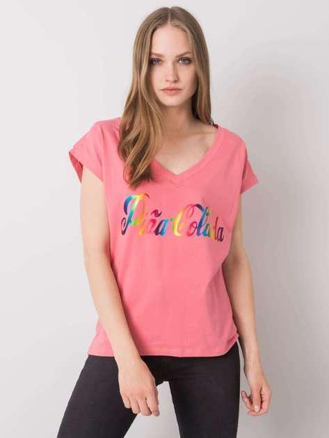 Różowy t-shirt z nadrukiem Hollis