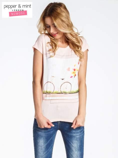 Różowy t-shirt z nadrukiem JOY OF LIFE