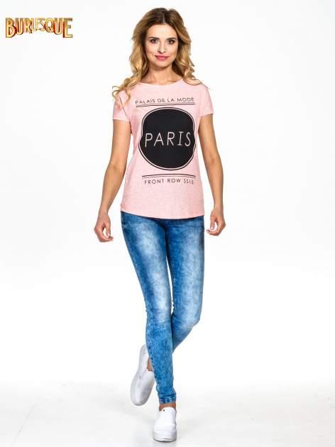 Różowy t-shirt z nadrukiem PARIS                                  zdj.                                  7