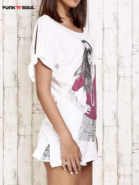 Różowy t-shirt z nadrukiem dziewczyny Funk'n'Soul                                  zdj.                                  3