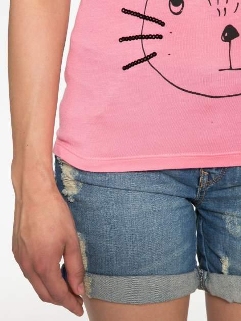 Różowy t-shirt z nadrukiem kota i myszy                                  zdj.                                  6
