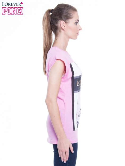 Różowy t-shirt z nadrukiem modowym i złotym napisem EXPENSIVE                                  zdj.                                  2