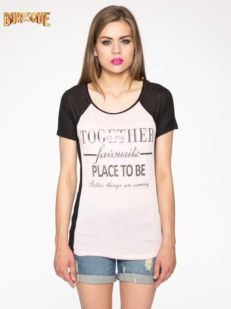 Różowy t-shirt z napisem TOGETHER IS MY FAVOURITE PLACE TO BE                                  zdj.                                  12