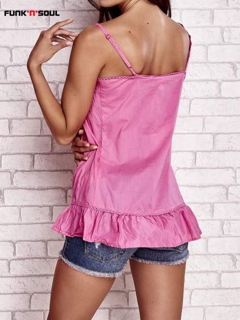 Różowy top na cienkich ramiączkach z falbaną FUNK N SOUL                                  zdj.                                  4