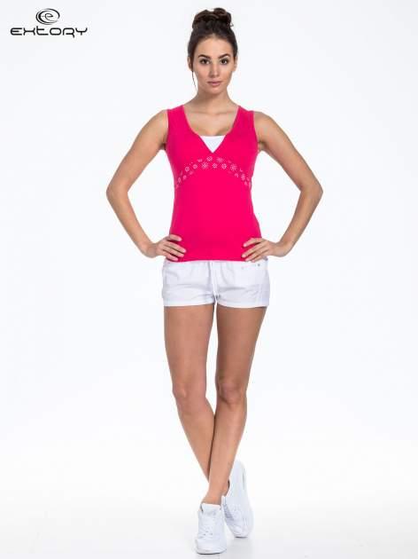 Różowy top sportowy z białą wstawką                                  zdj.                                  2