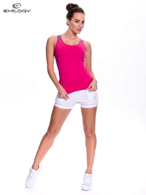 Różowy top sportowy z siateczką z tyłu                                  zdj.                                  2