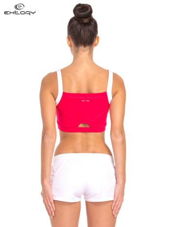 Różowy top stanik sportowy z białym ramiączkami i wycięciem z tyłu                                  zdj.                                  2