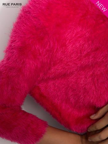 Różowy włochaty sweter z rękawami 3/4                                  zdj.                                  6