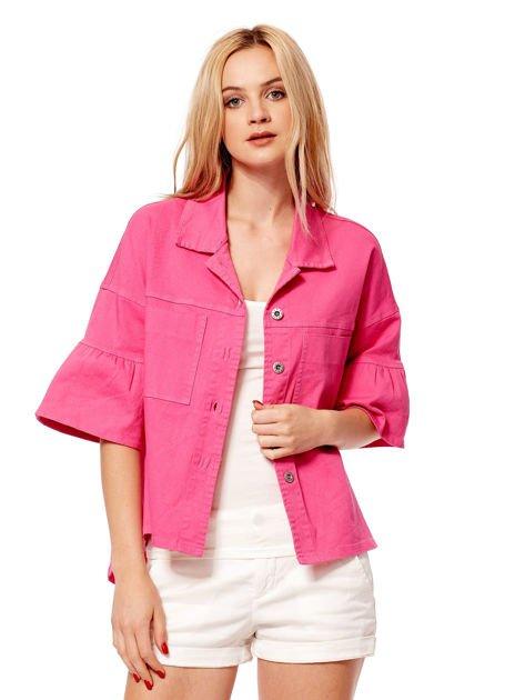 Różowy żakiet z szerokimi rękawami                              zdj.                              1
