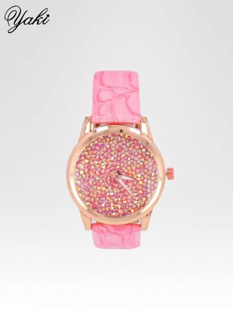 Różowy zegarek damski na pasku z tarczą glitter                                  zdj.                                  1