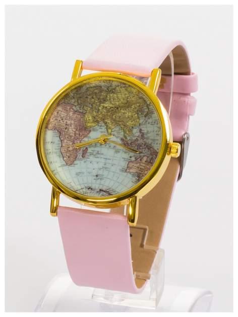 Różowy zegarek damski na skórzanym pasku                                  zdj.                                  3