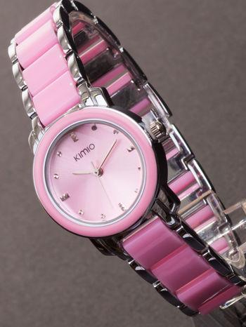 Różowy zegarek damski z cyrkoniami na bransolecie