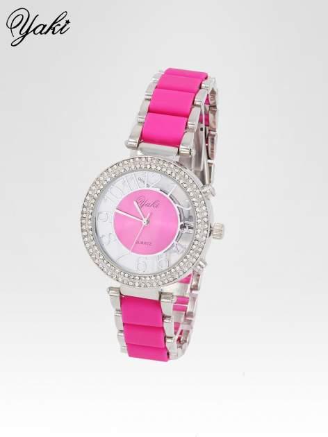 Różowy zegarek na bransolecie z cyrkoniami na tarczy                                  zdj.                                  2