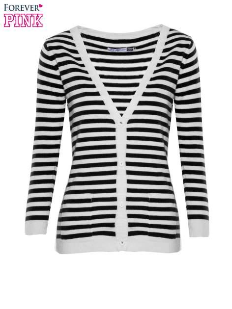 Rozpinany sweter w biało-czarne paski z kieszonkami po bokach                                  zdj.                                  5