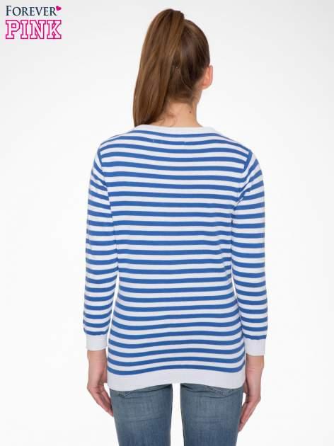 Rozpinany sweter w biało-niebieskie paski z kieszonkami po bokach                                  zdj.                                  4