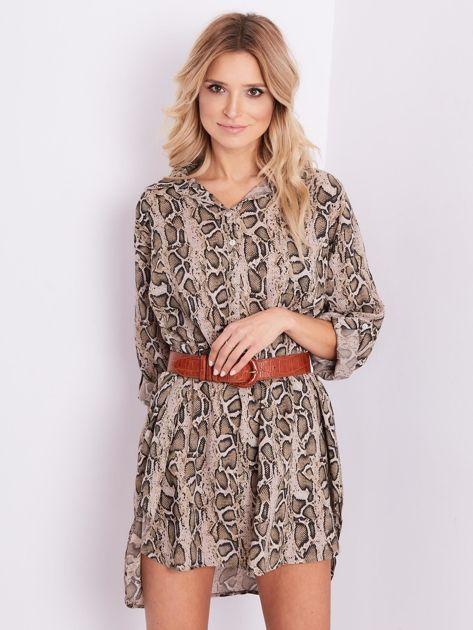 Beżowa sukienka animal print                              zdj.                              6