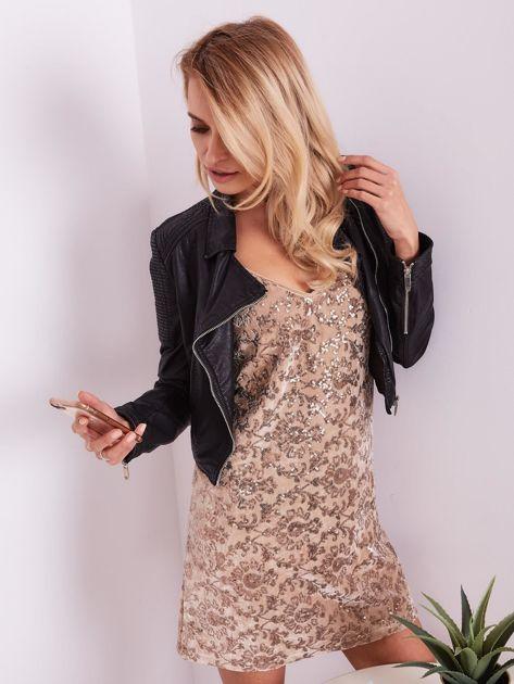 SCANDEZZA Beżowa sukienka mini                               zdj.                              7
