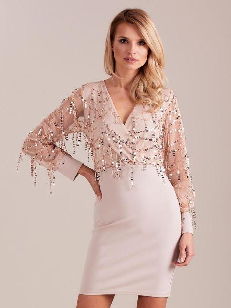 Beżowa sukienka z cekinami                              zdj.                              3