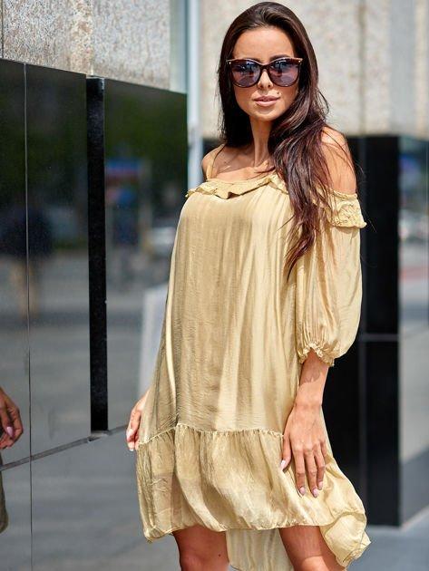 Beżowa sukienka z wycięciami na ramionach                              zdj.                              2