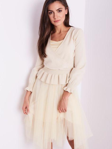 SCANDEZZA Beżowa tiulowa sukienka                              zdj.                              8