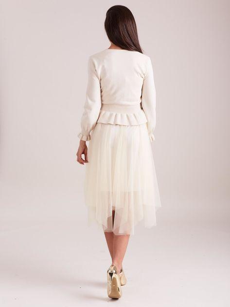 SCANDEZZA Beżowa tiulowa sukienka                              zdj.                              3