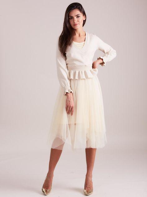 SCANDEZZA Beżowa tiulowa sukienka                              zdj.                              5