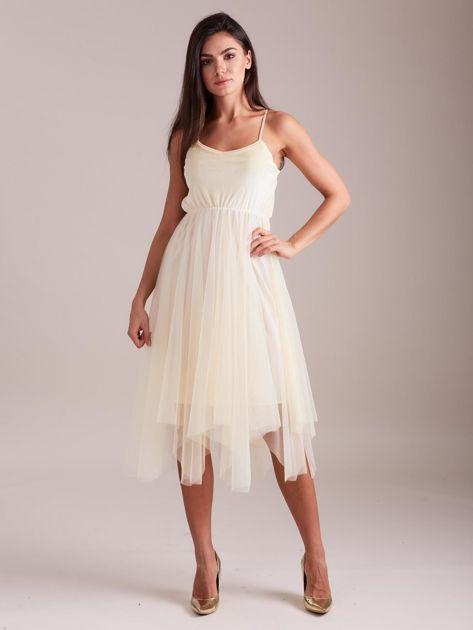 SCANDEZZA Beżowa tiulowa sukienka                              zdj.                              6