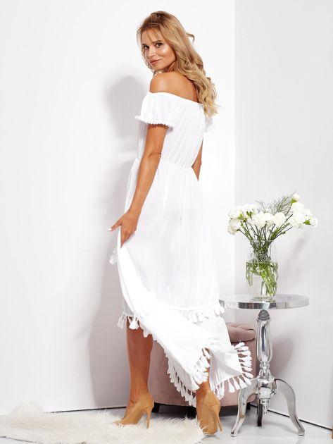 Biała asymetryczna sukienka hiszpanka z frędzlami                              zdj.                              8