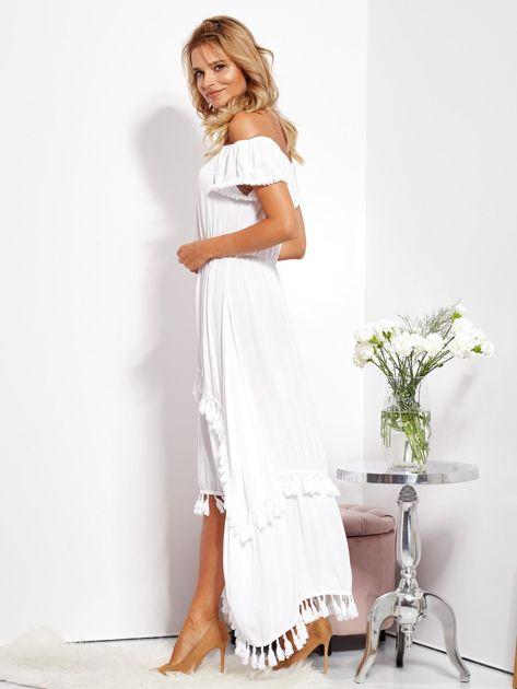 Biała asymetryczna sukienka hiszpanka z frędzlami                              zdj.                              9