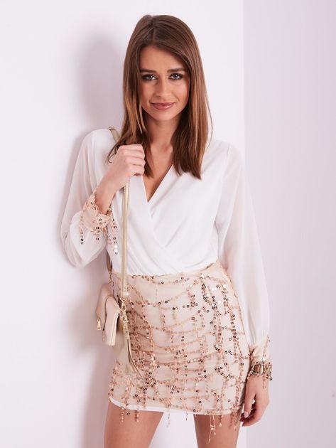 SCANDEZZA Biała sukienka z cekinami                              zdj.                              4