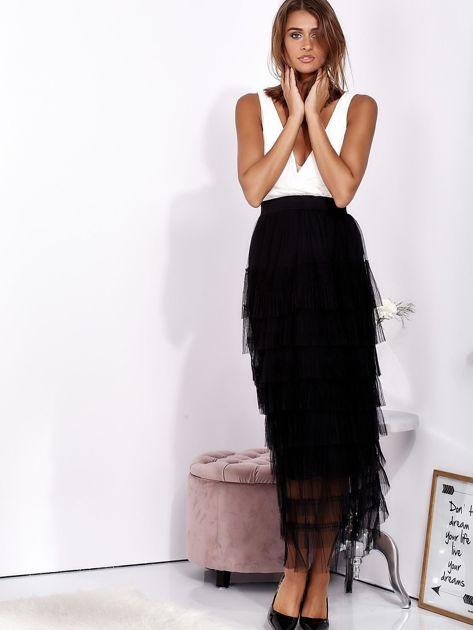 Biało-czarna sukienka maxi z plisowanymi falbanami                              zdj.                              1