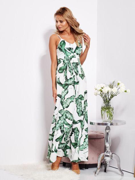 SCANDEZZA Biało-zielona maxi sukienka w liście z wiązaniem                              zdj.                              2