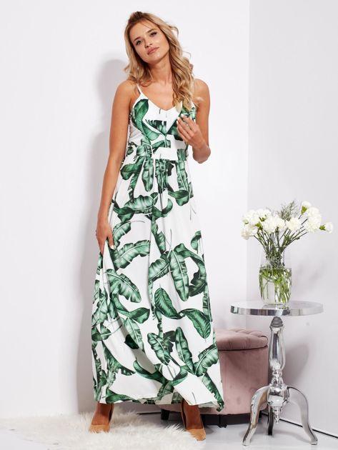 SCANDEZZA Biało-zielona maxi sukienka w liście z wiązaniem                              zdj.                              3