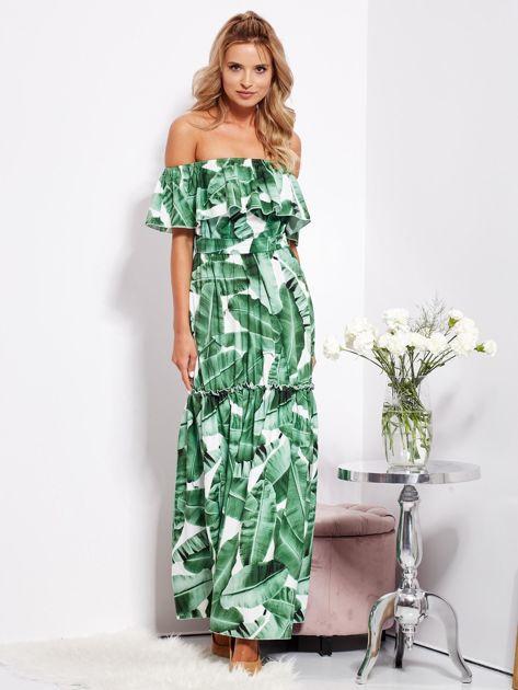 SCANDEZZA Biało-zielona sukienka hiszpanka maxi w tropikalne liście                              zdj.                              13