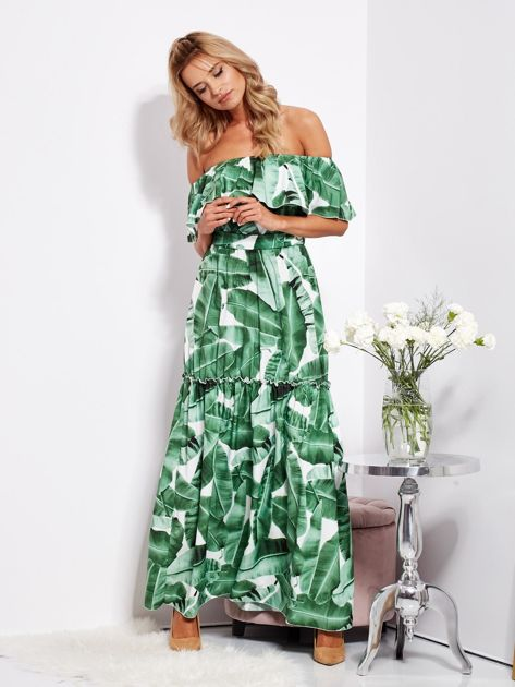 Biało-zielona sukienka hiszpanka maxi w tropikalne liście                              zdj.                              14