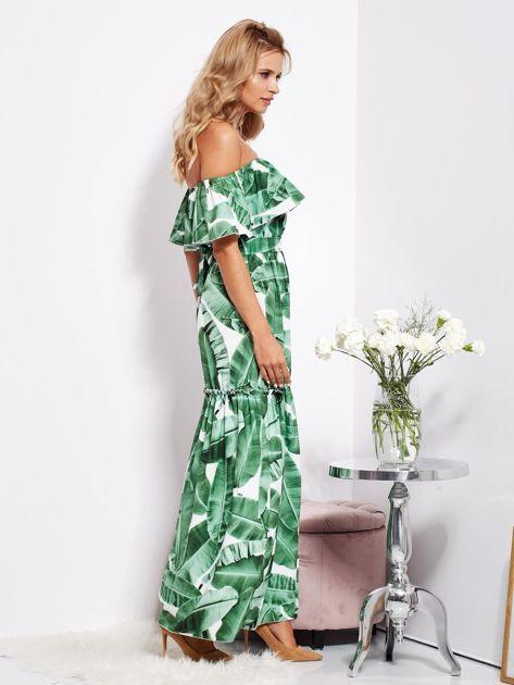 Biało-zielona sukienka hiszpanka maxi w tropikalne liście                              zdj.                              2
