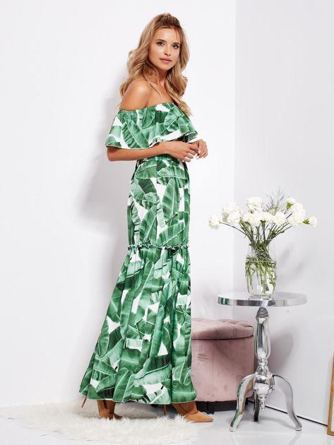 Biało-zielona sukienka hiszpanka maxi w tropikalne liście                              zdj.                              3