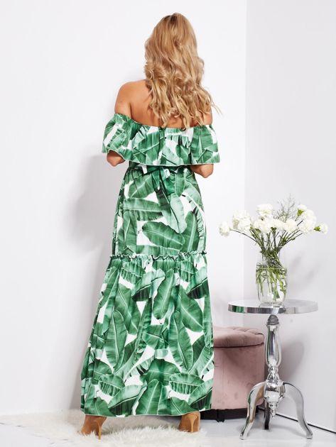 SCANDEZZA Biało-zielona sukienka hiszpanka maxi w tropikalne liście                              zdj.                              4