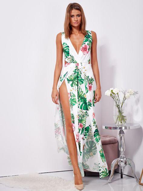 Biało-zielona sukienka maxi floral print z rozcięciem                              zdj.                              1