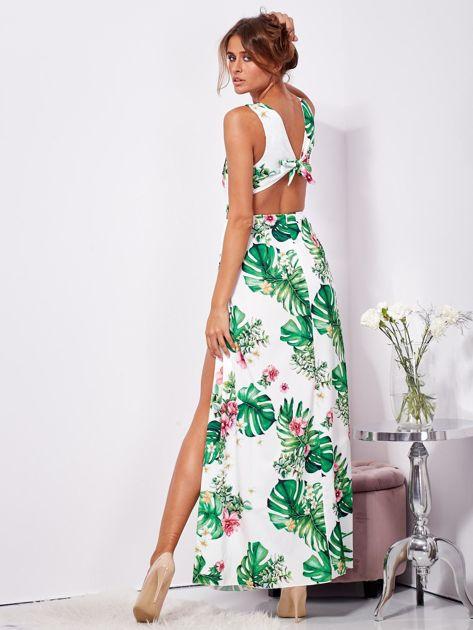 Biało-zielona sukienka maxi floral print z rozcięciem                              zdj.                              2